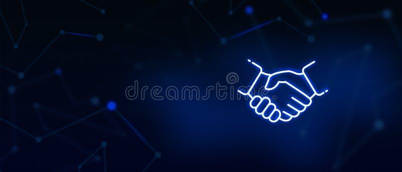 Poignée de main, affaire, professionnels, joueur d'équipe, accord contractuel, acceptation de proposition d'affaires, association illustration de vecteur
