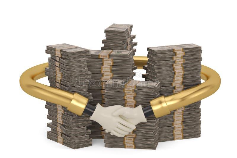 Poignée de main autour des piles du dollar d'isolement sur le fond blanc 3D i illustration de vecteur
