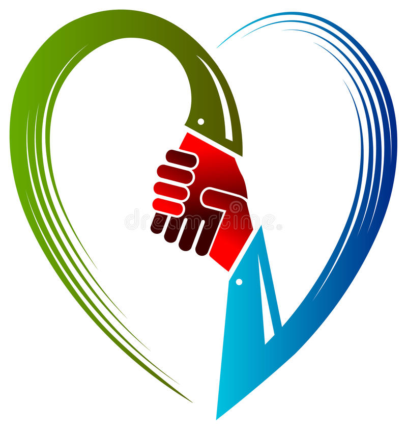Poignée de main avec amour illustration libre de droits