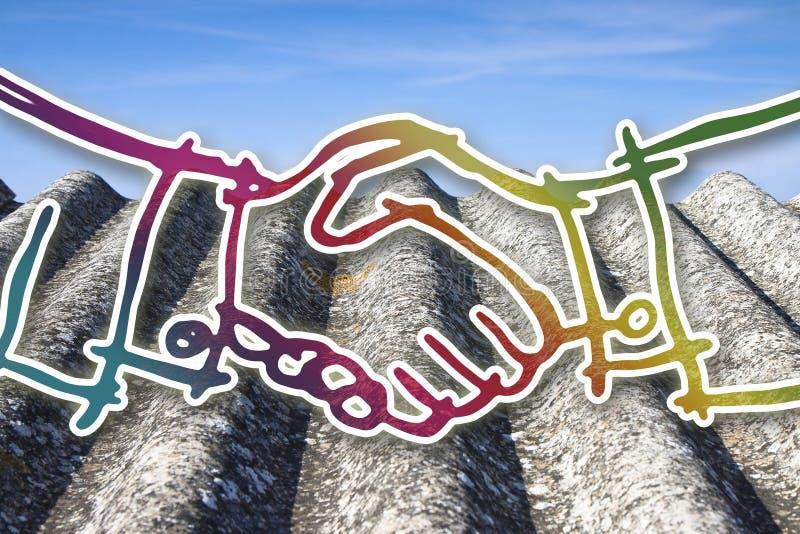 Poignée de main contre un toit dangereux d'amiante - image de concept photo libre de droits