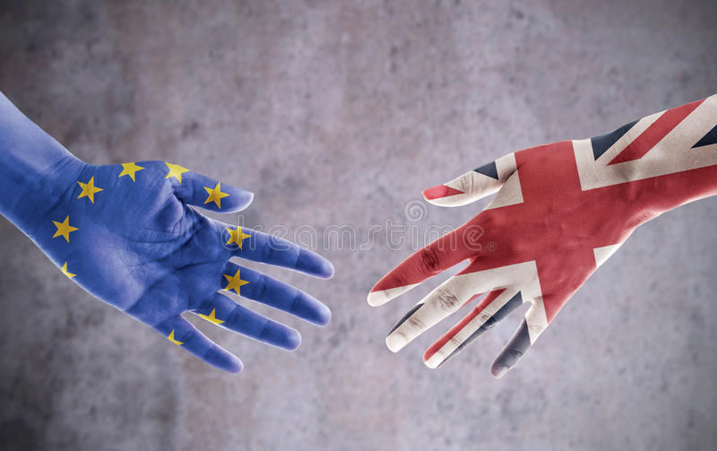 Poignée de main d'affaire de Brexit photographie stock