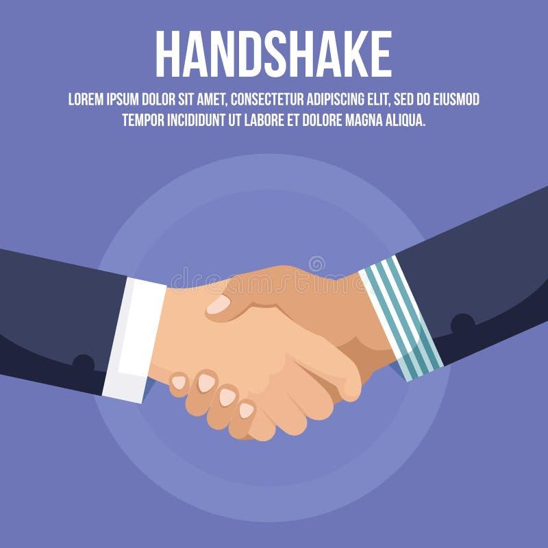 Poignée de main d'homme d'affaires ou handclasp, secousse de main illustration stock