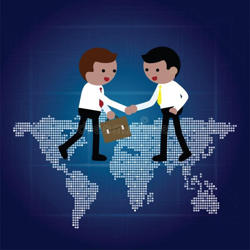 Poignée de main d'homme d'affaires sur la carte du monde illustration de vecteur