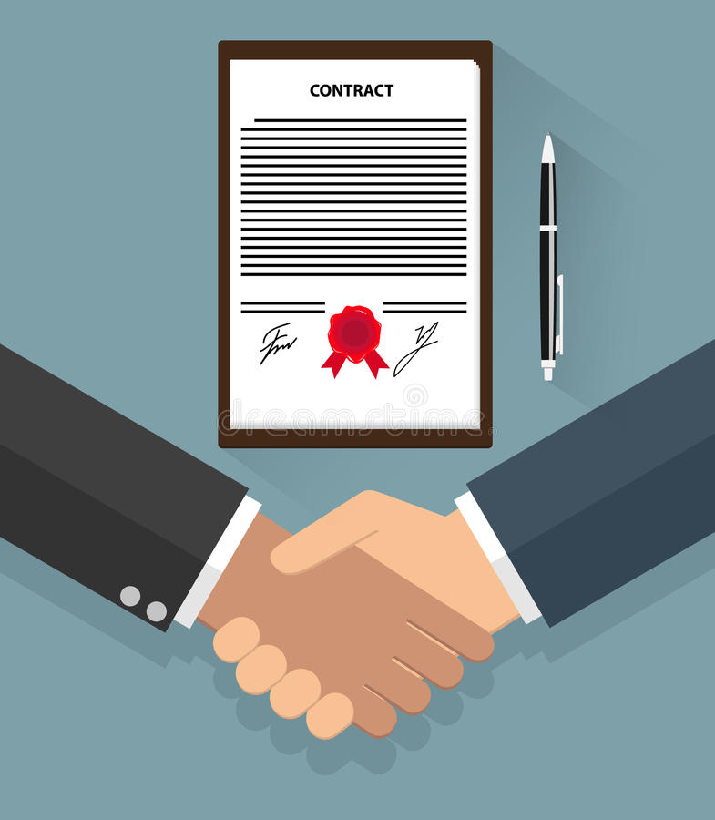 Poignée de main d'homme d'affaires sur le contrat illustration stock