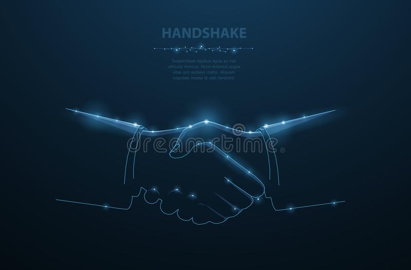Poignée de main d'homme de vecteur Illustration polygonale abstraite de poignée de main d'homme d'affaires Fond bleu-foncé avec d illustration stock