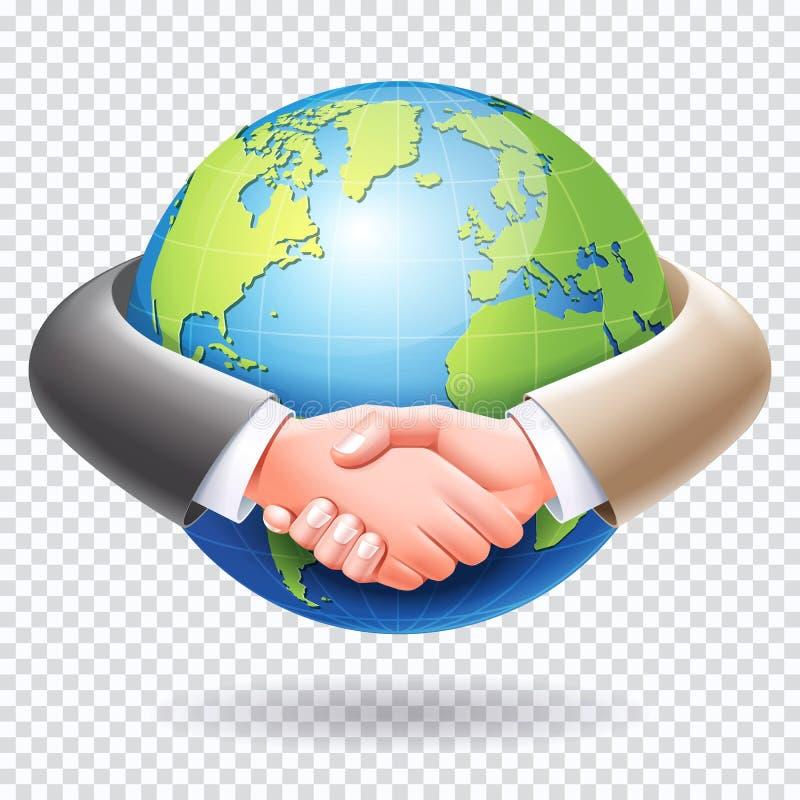 Poign?e de main d'hommes d'affaires autour du fond de la terre de globe du monde illustration libre de droits