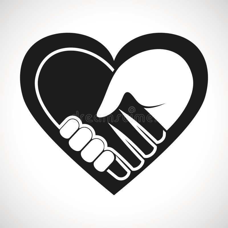 Poignée de main de coeur de vecteur d'icône d'illustration illustration de vecteur