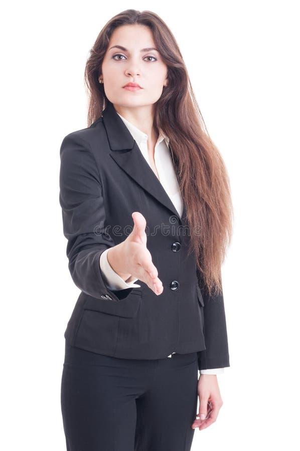 Poignée de main de offre de femme d'affaires d'isolement sur le blanc images libres de droits