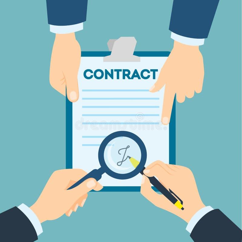 Poignée de main de signature de contrat illustration de vecteur