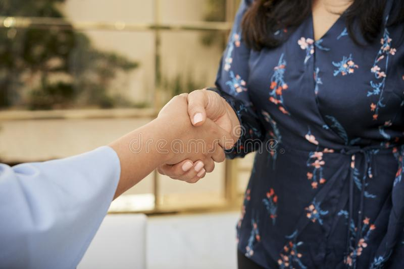 Poignée de main des femmes d'affaires image libre de droits