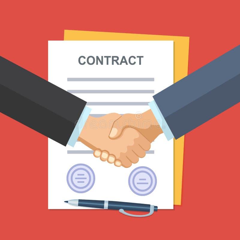 Poignée de main des gens d'affaires sur le fond du contrat illustration stock