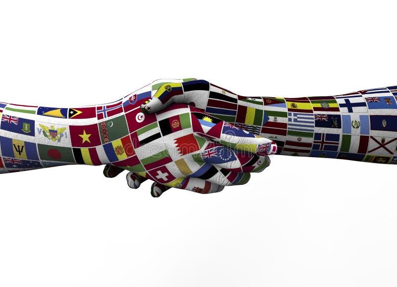 Poignée de main entre deux nations d'isolement sur le blanc illustration libre de droits