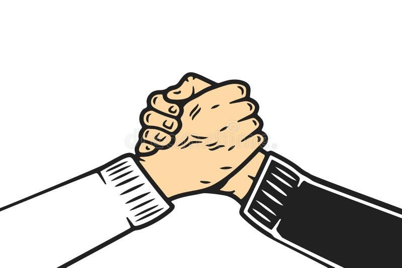 Poignée de main de frère d'âme, poignée de main de fermoir de pouce ou poignée de main de homie, style de bande dessinée sur le f illustration libre de droits
