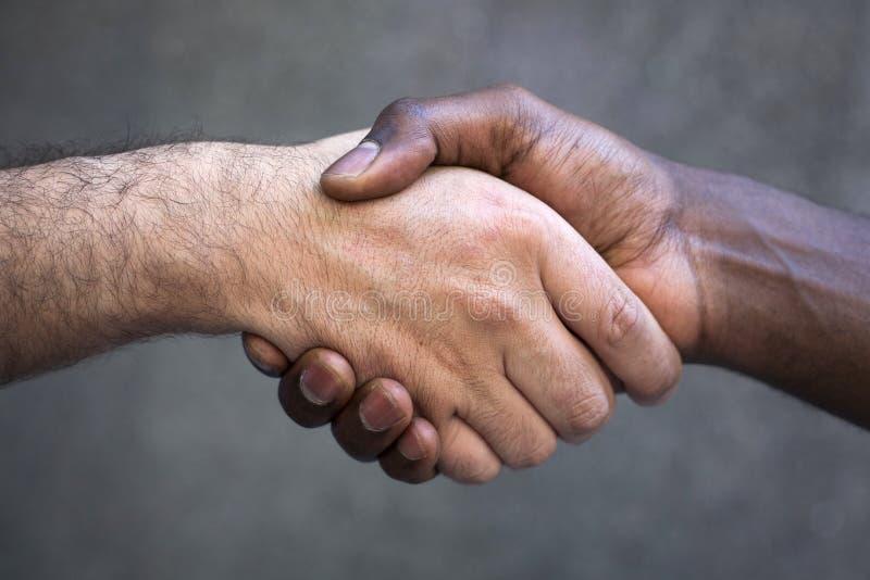 Poignée de main multiraciale images libres de droits