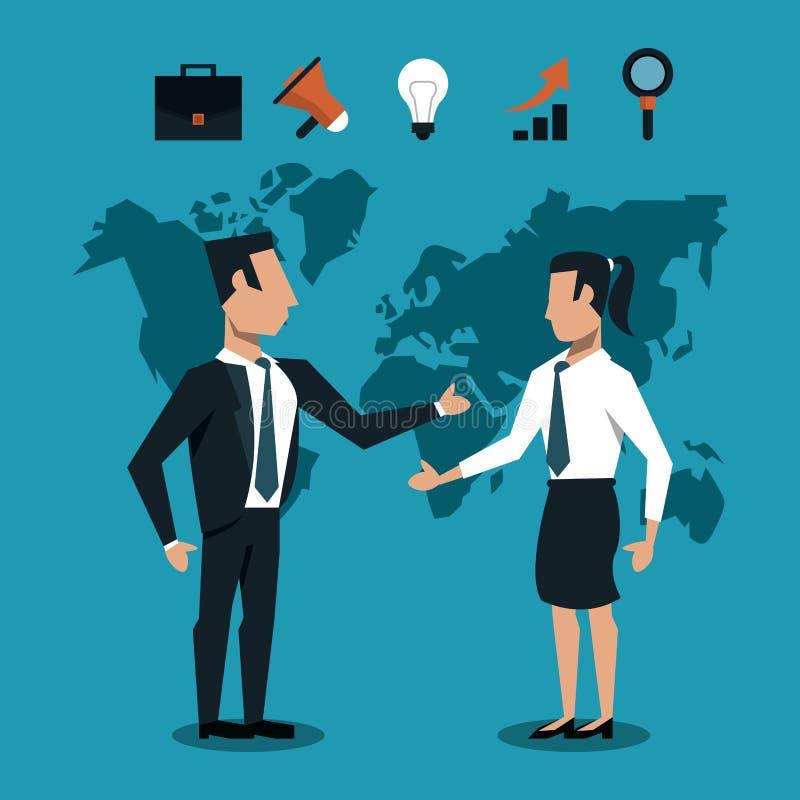 Poignée de main de peoplee d'affaires au-dessus de monde illustration de vecteur