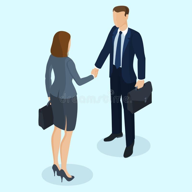 Poignée de main réussie d'homme d'affaires et de femme d'affaires illustration libre de droits