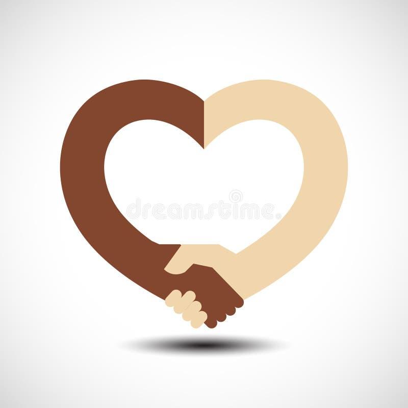 Poignée de main sous forme de coeur Sympathie de poignée de main, amour et concept d'amitié illustration libre de droits