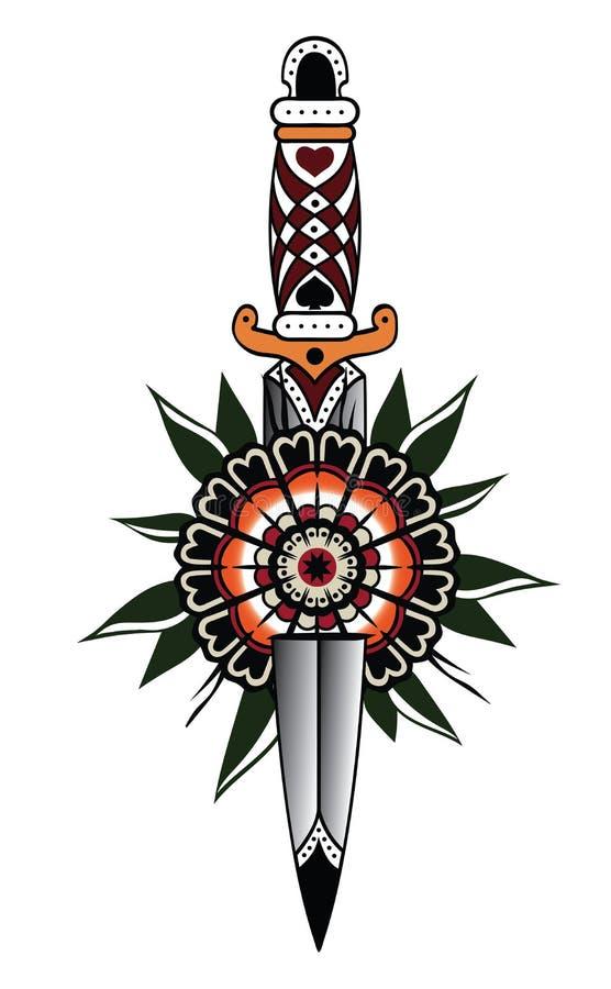 Poignard et fleur blanc rouge dans le style néoclassique de tatouage illustration de vecteur