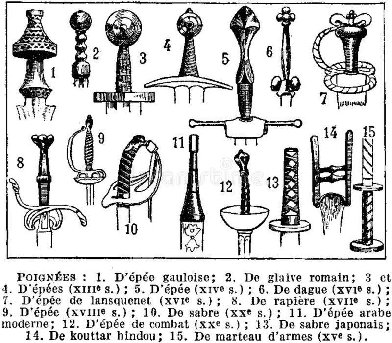poignées-épées stock photos