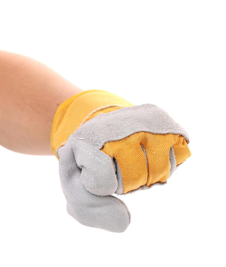 Poing de serrage masculin fort de gant de main de travailleur. images libres de droits