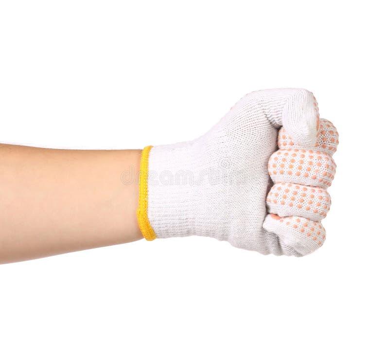 Poing de serrage masculin fort de gant de main de travailleur. photos stock