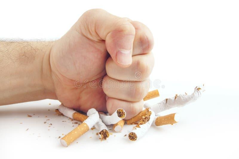 Poing humain cassant des cigarettes sur le fond blanc photographie stock
