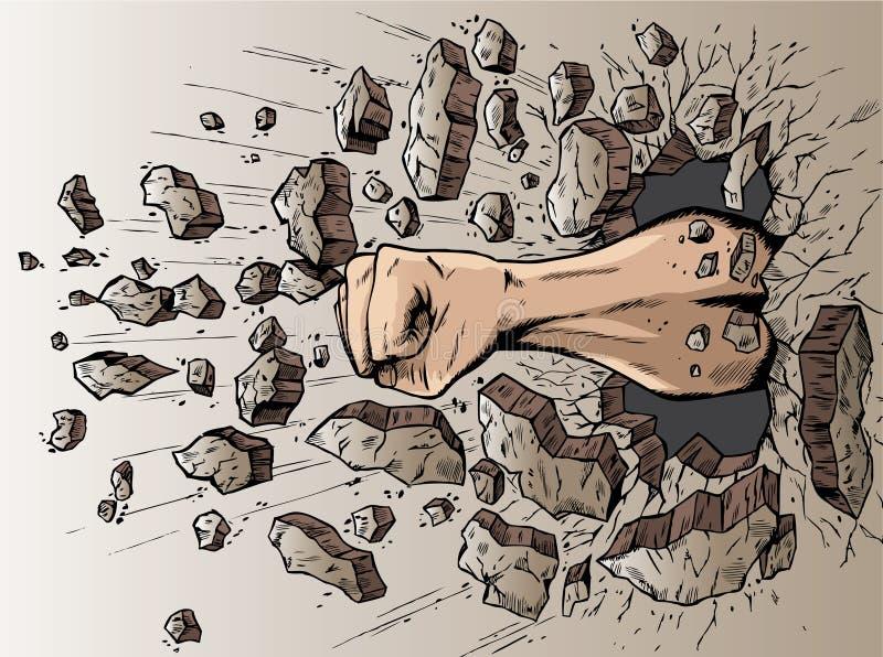 Poing par le mur illustration libre de droits