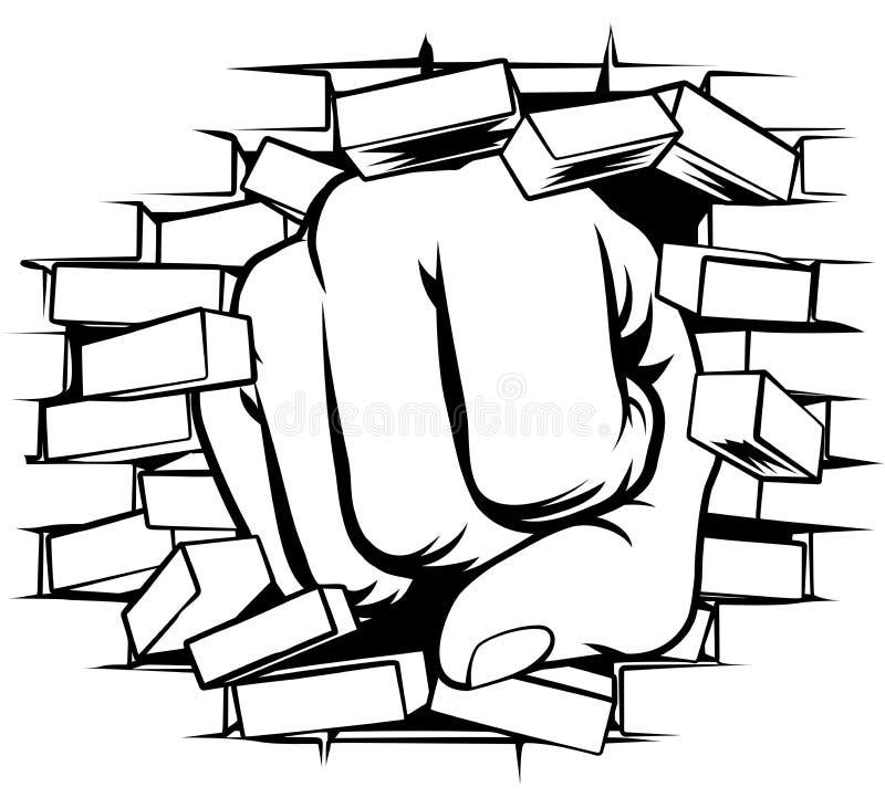 Poing poinçonnant par le mur de briques illustration stock