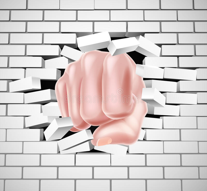Poing poinçonnant par le mur de briques blanc illustration de vecteur