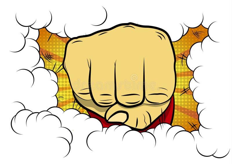 Poing serré illustré par vecteur de bande dessinée de style de bande dessinée illustration libre de droits