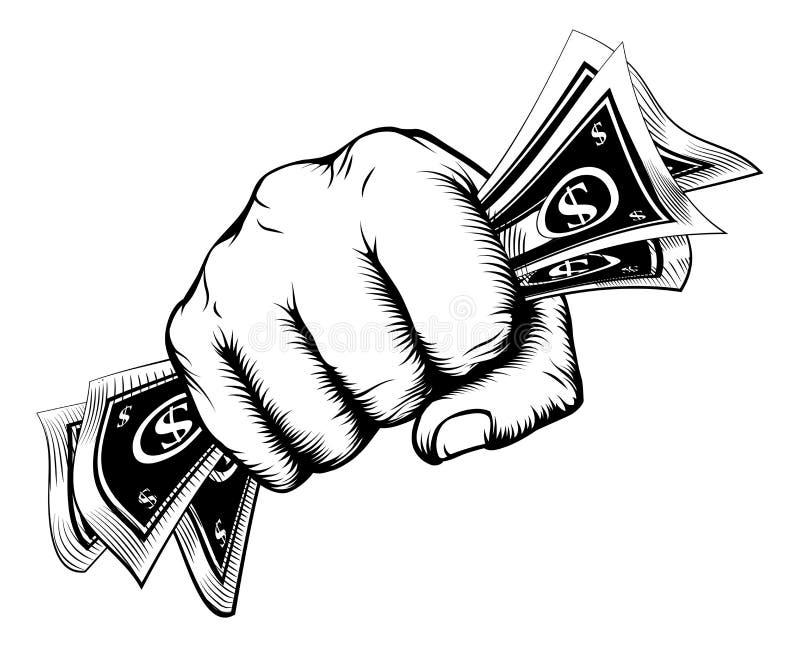 Poing tenant le concept d'argent illustration libre de droits