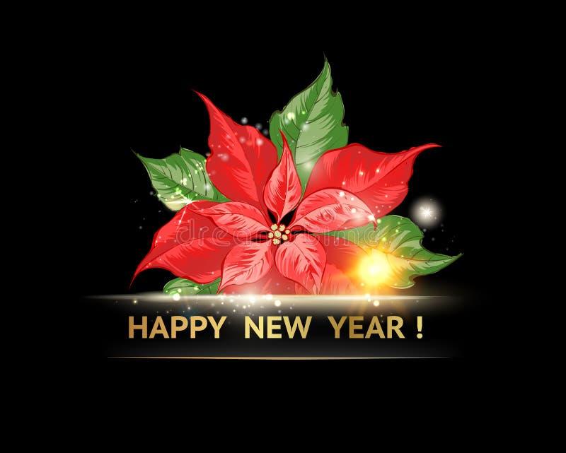 Poinsetia roja con isolatrd del texto de la Feliz Año Nuevo sobre fondo negro ilustración del vector