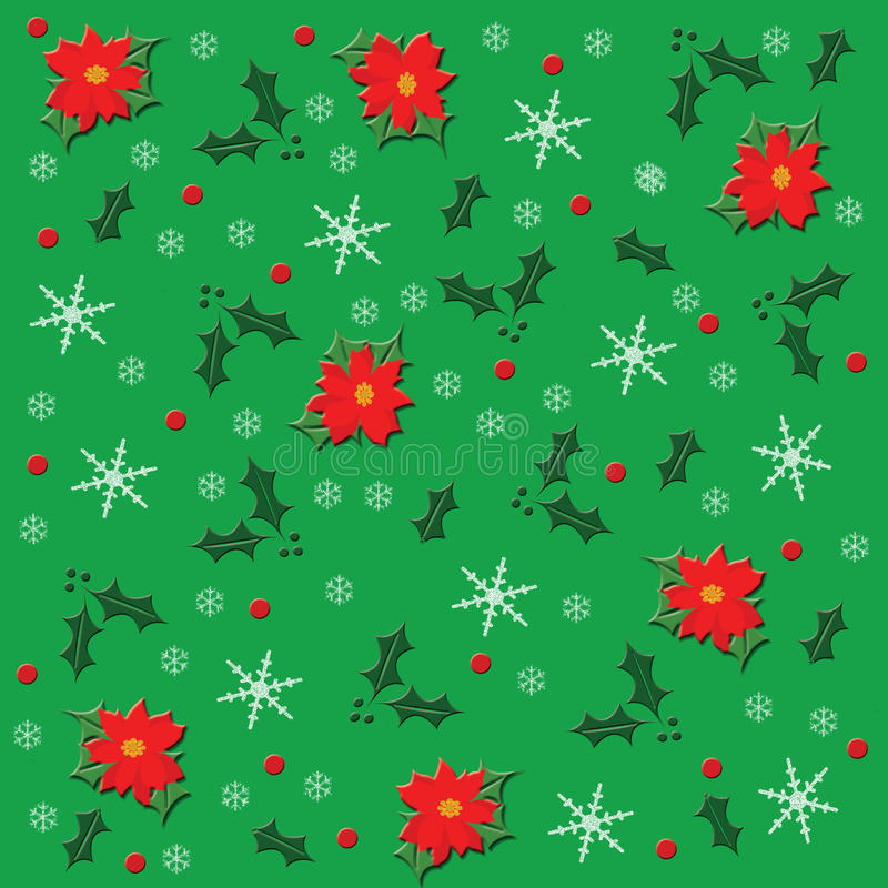 Poinsettia και χιόνι διανυσματική απεικόνιση