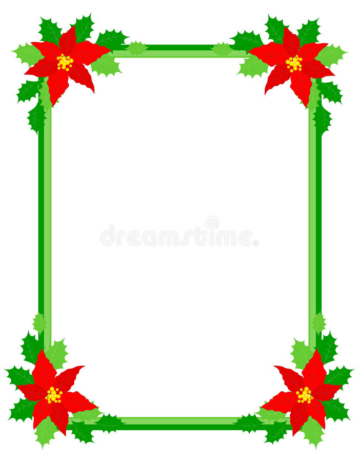 poinsettia πλαισίων Χριστουγέννων διανυσματική απεικόνιση