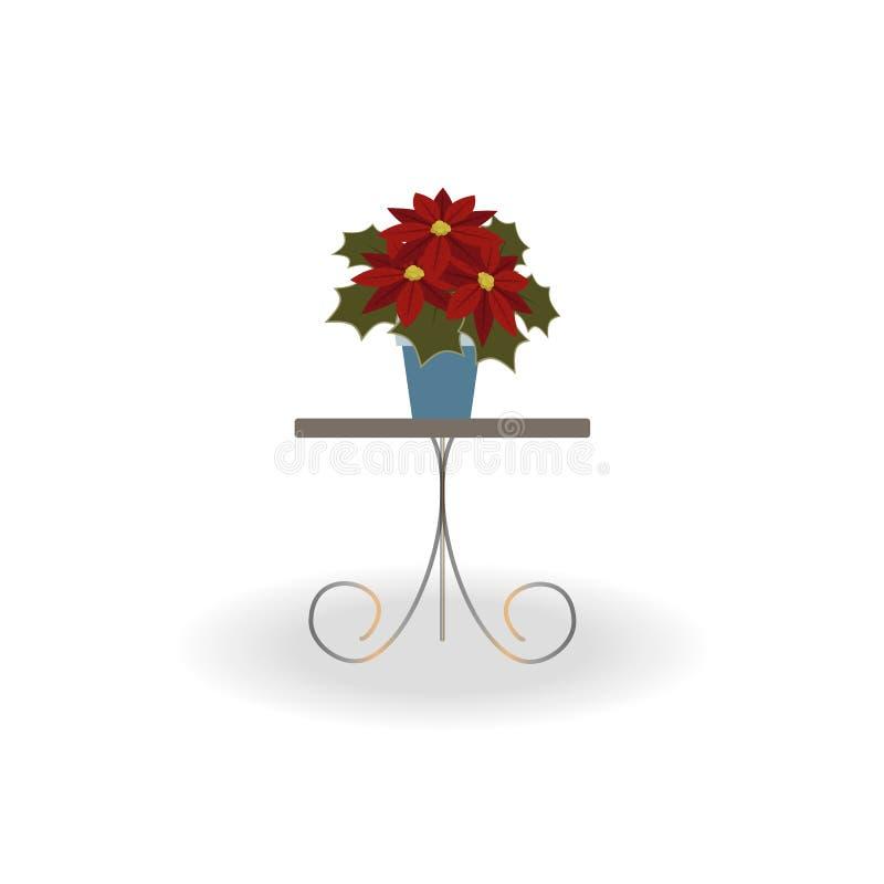 Poinsettia рождества красный в баке на красивой таблице с выкованными ногами на белой предпосылке иллюстрация штока