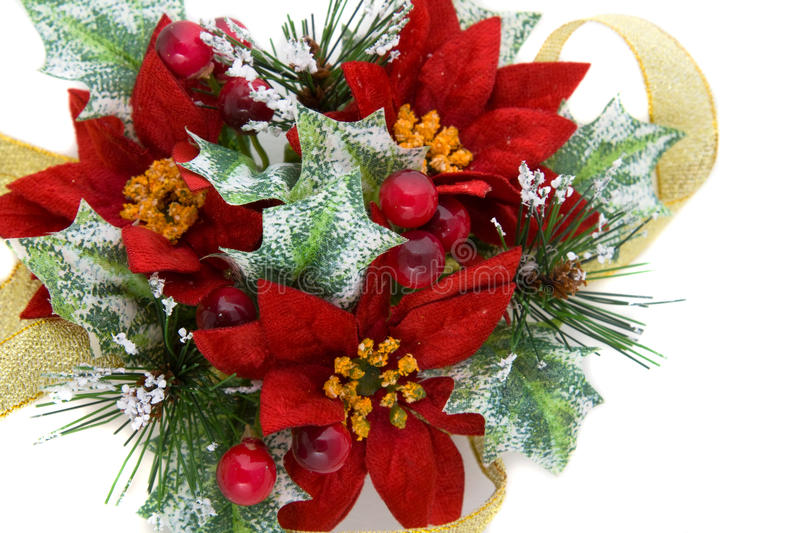 Download Poinsettia Christmas Decoration With Gold Ribbon Stock Photo - Image: 11727712