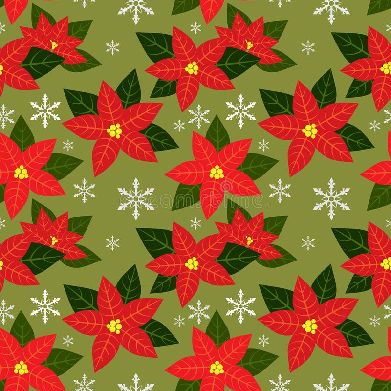 Poinsettia Christmas flowers seamless pattern with Red Poinsettia Christmas flowers and snowflakes. royalty free illustration