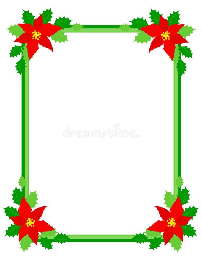 Poinsettia del marco de la Navidad ilustración del vector