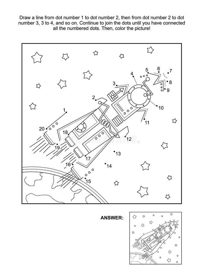 Point-à-point et page d'activité de coloration - montez en flèche, ou vaisseau spatial illustration stock