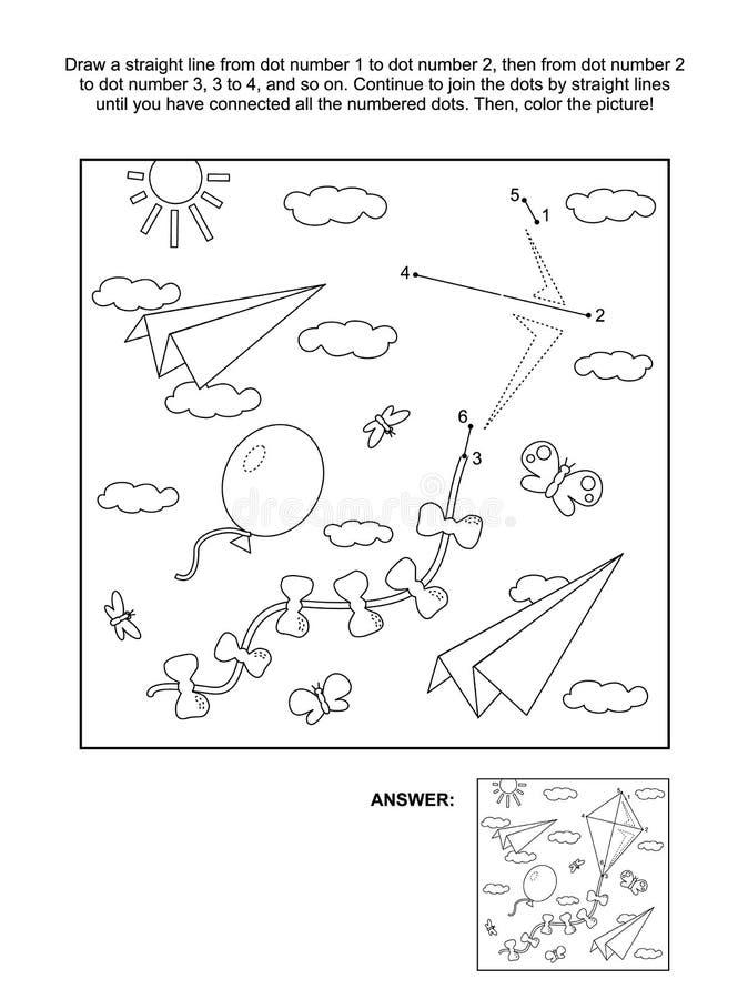 Point-à-point et page de coloration avec le cerf-volant, avions de papier, ballon illustration de vecteur