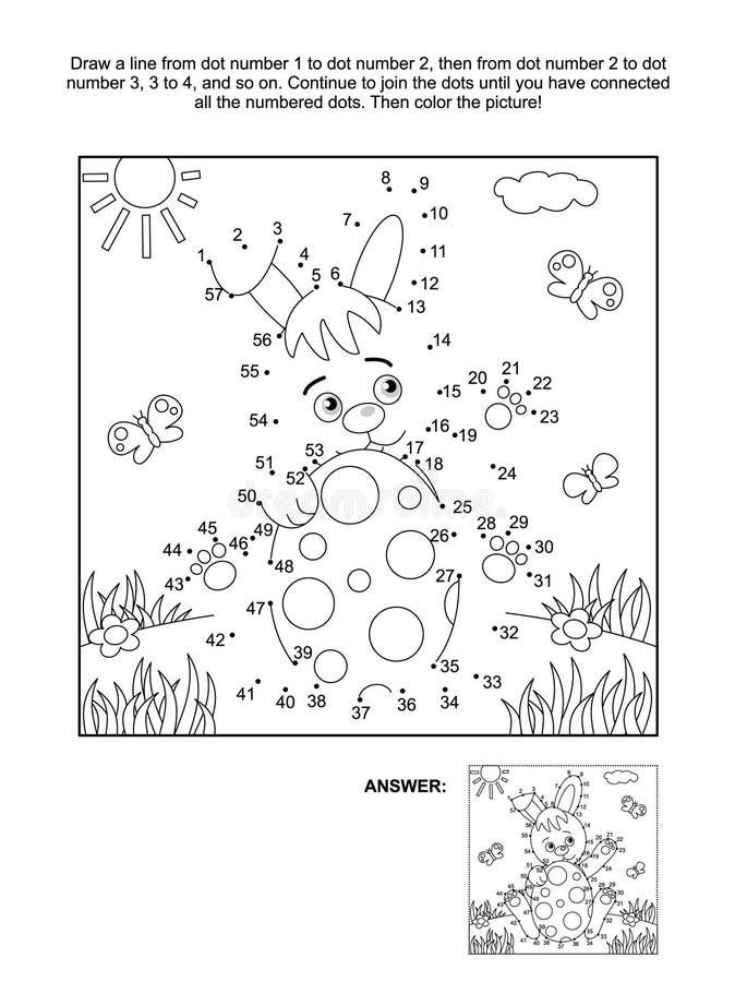 Point-à-point et page de coloration avec le lapin et l'oeuf illustration libre de droits