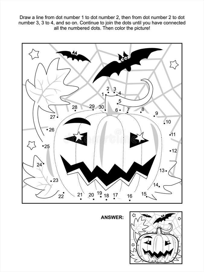 Point-à-point et page de coloration - potiron de Halloween illustration stock