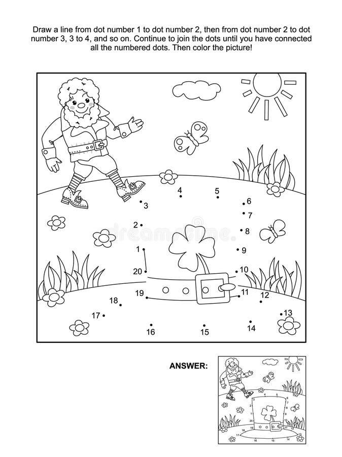 Point-à-point orienté du jour de St Patrick et page de coloration illustration libre de droits