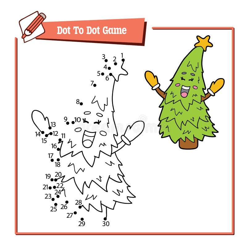 Point à pointiller avec l'arbre de Noël de bande dessinée illustration de vecteur