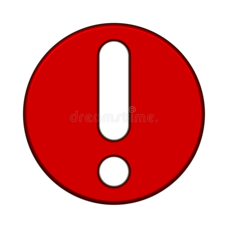 Point. Vectorial image of a white exclamation point on red background stock illustration