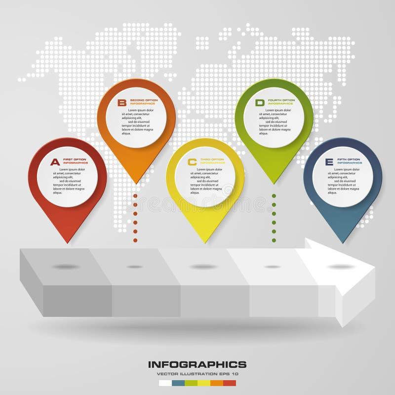 Point abstrait de navigation sur la forme de flèche Les étapes du clivage 5 nivellent Élément d'Infographics illustration libre de droits