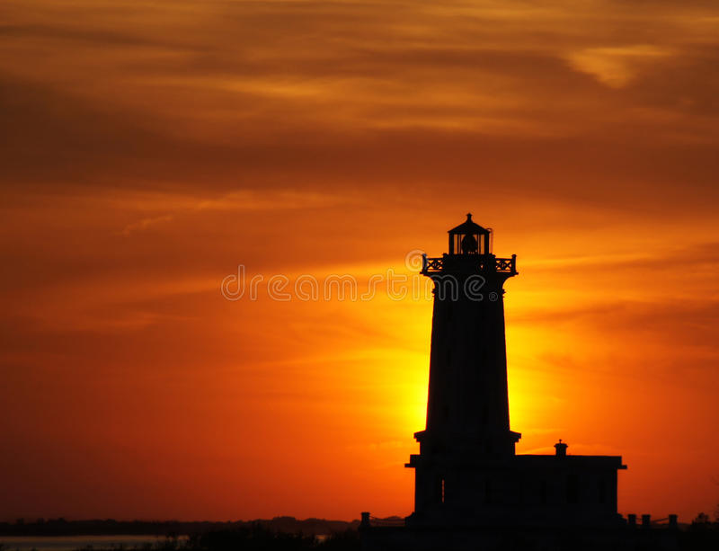 Point Albino Lighthouse at sunset stock photos