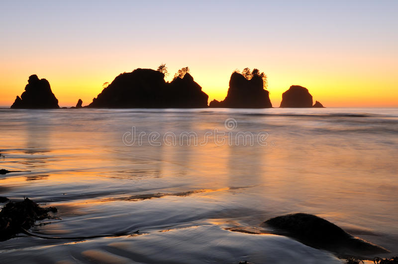 Point of Arches, Shi Shi Beach sunset. Point of Arches, Shi Shi Beach, Washington stock image
