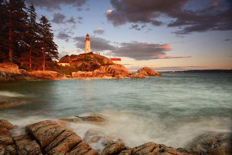 Point Atkinson Lighthouse at sunset stock image