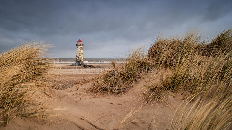 The Point of Ayr Lighthouse stock photo